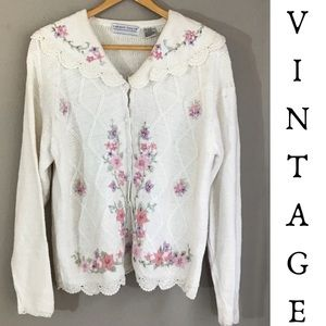 Vintage  Feminine Floral Embroidered Cardigan
